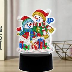 눈사람 커플 DIY 비즈 십자수 무드등 어린이 보석십자수_(2568270)