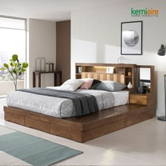 프리미엄 고무나무원목 침대프레임(일체형,K,Q) KBD-402