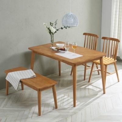 트리빔하우스 밤비 고무나무 4인용 원목식탁 테이블(의자별도)_TB21F