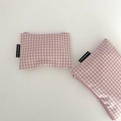 베이비 핑크 파우치 (Baby pink check pouch)