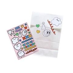 [꼬까참새 ]종이봉투+스티커팩 세트