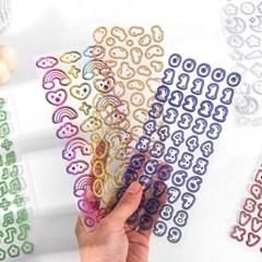 홀로그램 씰 스티커 숫자 알파벳 다꾸 폴꾸 포꾸 포카 탑꾸