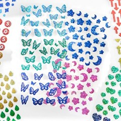 반짝이 나비 숫자 알파벳 하트 펄 스티커 다꾸 탑꾸 8종
