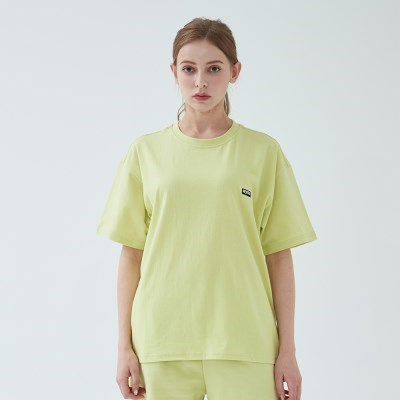 와이즈 베이직 로고 티셔츠 (네온 옐로)