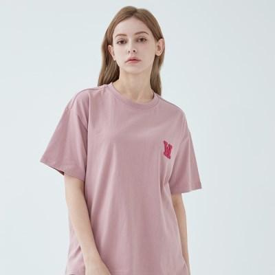 아플리케로고 티셔츠 (코랄)