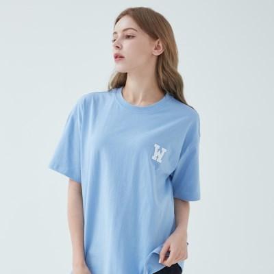아플리케로고 티셔츠 (스카이블루)