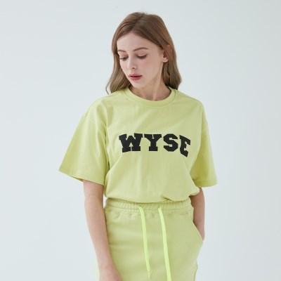 컬리지 로고 티셔츠 (네온 옐로)