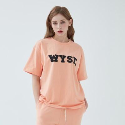 컬리지 로고 티셔츠 (네온 오렌지)