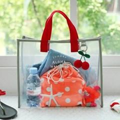 알로하 투명 비치백(그레이+레드) 수영장 물놀이가방