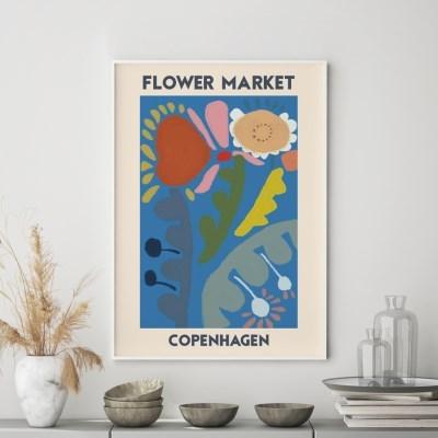 일러스트 꽃 그림 액자 플라워마켓 코펜하겐
