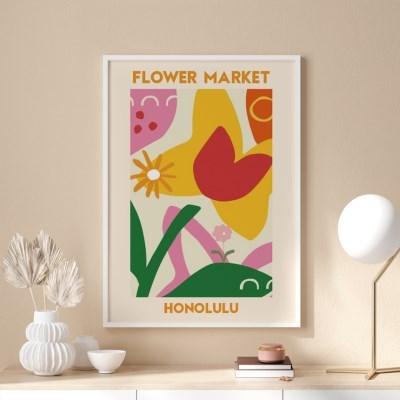 일러스트 꽃 그림 액자 플라워마켓 호놀룰루