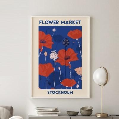 일러스트 꽃 그림 액자 플라워마켓 스톡홀름