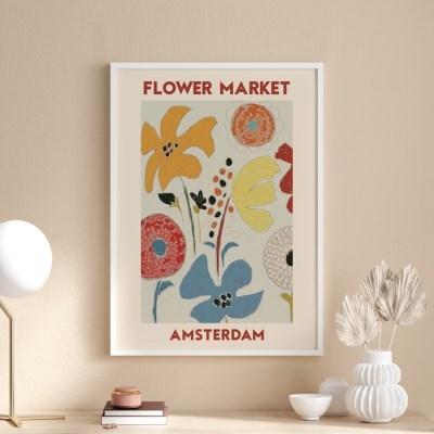 일러스트 꽃 그림 액자 플라워마켓 암스테르담