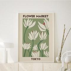 일러스트 꽃 그림 액자 플라워마켓 도쿄