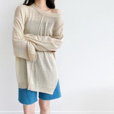 여리여리한 커버업 루즈핏 시스루 니트(knit640)_(1903143)