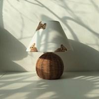 침실 무드등 테디베어 라탄 스탠드 조명(전구 포함)