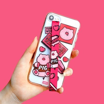[스트랩+젤리케이스 분홍돼지]아이폰xr 갤럭시a10e 핑거스트랩 노트2