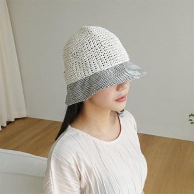 여자 봄 여름 서핑 배색 체크 벙거지 버킷햇 모자