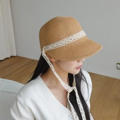 여자 봄 여름 데일리 밀짚 챙 레이스 와이드캡 모자