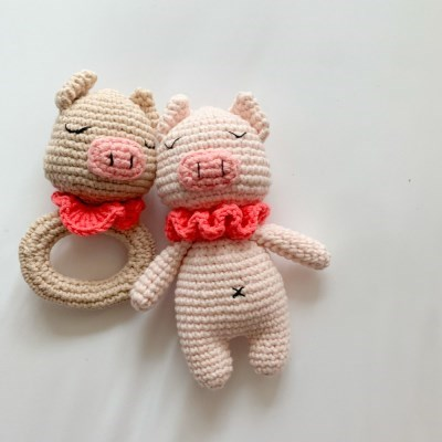 개달당 꾸리 치발기딸랑이+삑삑이 강아지장난감 2종 SET