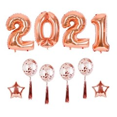 2021 로즈골드 대형풍선 신년 파티세트