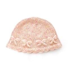 Fluffy Ribbon Knit Hat (Pink)