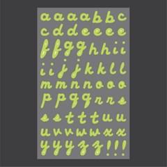 필기체 알파벳 스티커 (무광) - Lime