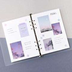 A5 6공 스크랩북 베이직-블랙 화이트 크라프트 반투명