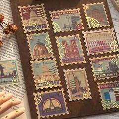 빈티지 레트로 금박 라벨 티켓 우표 다꾸 스티커