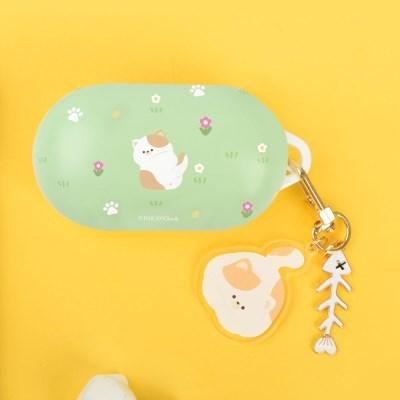 고양이 냥 냥이 패턴 하드 갤럭시 버즈플러스 케이스+냥이 키링