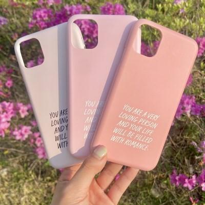 위드로맨스 영문레터링 핑크 아이폰 갤럭시 하드 폰케이스