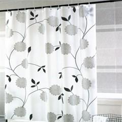 플라워 패턴 샤워커튼 커튼링포함 목욕 방수 욕실커튼