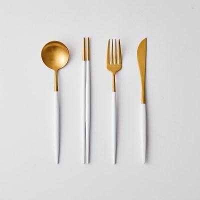 [모던하우스] 모던골드화이트 디너커트러리 1인세트 4P