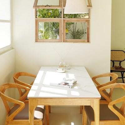 마루이 보나페티 내추럴 통 세라믹 4인 원목 식탁 세트_의자형