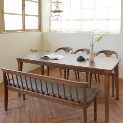 마루이 라플란드 에쉬 브라운 6인 원목 식탁 세트_벤치형