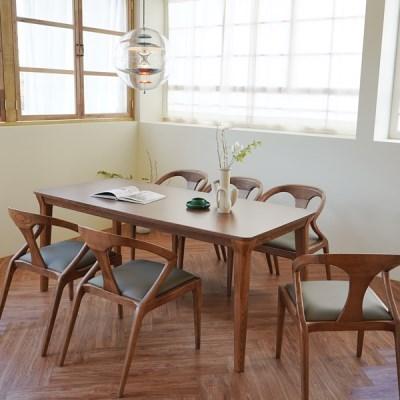 마루이 라플란드 에쉬 브라운 6인 원목 식탁 세트_의자형