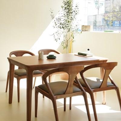마루이 라플란드 에쉬 브라운 4인 원목 식탁 세트_의자형