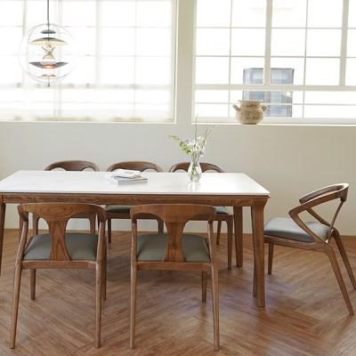 마루이 라플란드 에쉬 브라운 통 세라믹 6인 원목 식탁 세트_의자형