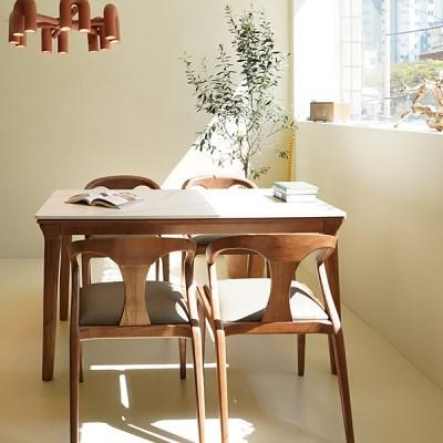 마루이 라플란드 에쉬 브라운 통 세라믹 4인 원목 식탁 세트_의자형