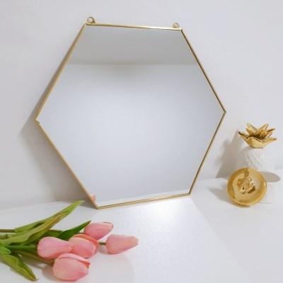 골드 육각거울 스트랩 벽장식 화장대 거울