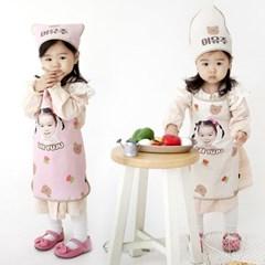 [키미티즈] 포토 어린이집 방수 유아앞치마 세트