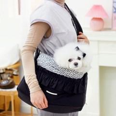 겟백 강아지 가방 슬링백 - 러블리 플라워 블랙