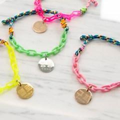 강아지 목걸이 고양이 인식표 라이트 체인로프 4colors