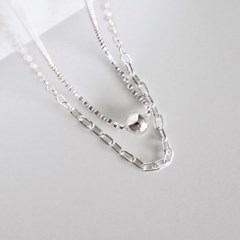 [Silver925] Other chain layered necklace_(1555301)