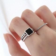 [Silver925] Square epoxy chain ring_(1555283)