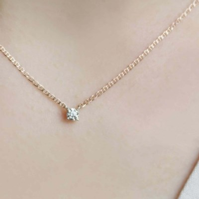 14K 1부 다이아몬드 사다리 체인 목걸이