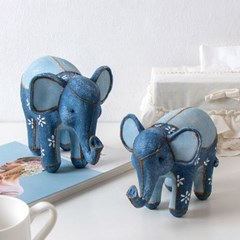 행운의 청 코끼리 2P 세트 장식품 풍수인테리어 조각상