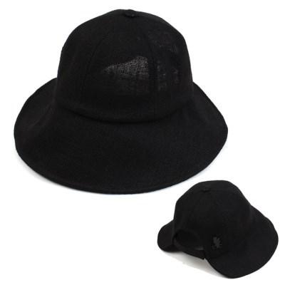 Linen Backopen Black Bucket Hat 린넨버킷햇
