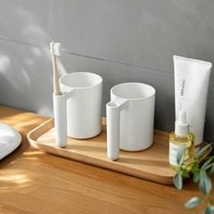 화이트 칫솔꽂이 개인양치컵