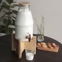 우유병 음료 디스펜서 4L / 카페물통 유리보틀 미니워터바